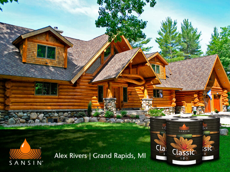 Log Home with Sansin Classic Enviro Stain