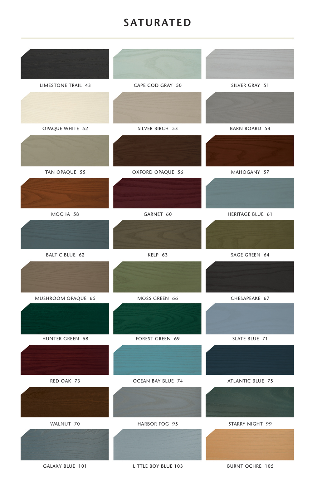 Sansin Exterior Saturated Stain Colours