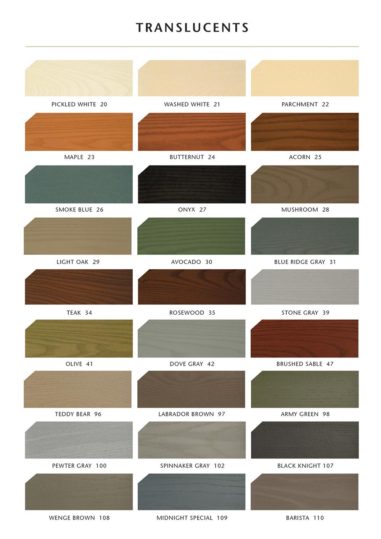 Sansin Exterior Translucent Stain Colours